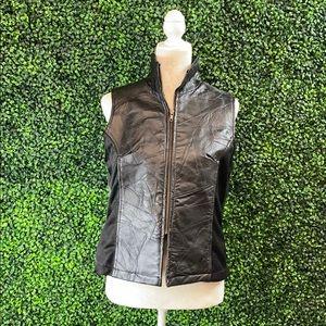 Leather & Soul Womens Vintage Black Leather Vest L